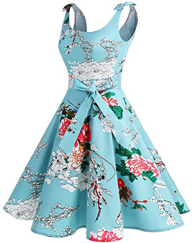 Bbonlinedress 1950er Vintage Polka Dots Pinup Retro Rockabilly Kleid Cocktailkleider Green Flower L - 2