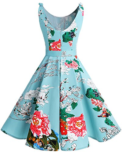 Bbonlinedress 1950er Vintage Polka Dots Pinup Retro Rockabilly Kleid Cocktailkleider Green Flower L - 3