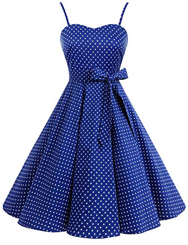 Bbonlinedress Vintage 50s 60s Retro Rockabilly Cocktailkleid mit abnehmbarem Schultergurt RoyalBlue White Dot XL