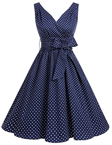 Bbonlinedress 50er Retro V-Ausschnitt Vintage Rockabilly Cocktailkleider Navy White Small Dot XL
