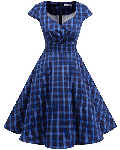 Bbonlinedress 1950er Vintage Retro Cocktailkleid Rockabilly V-Ausschnitt Faltenrock Navy Plaid S