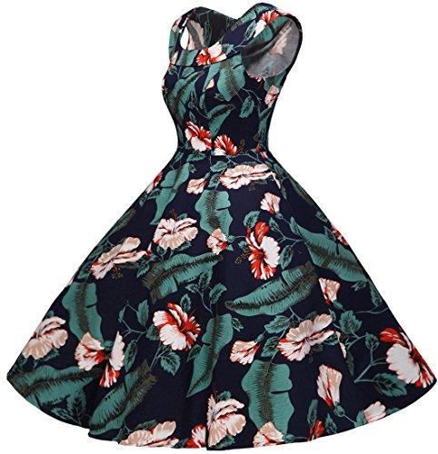 Bbonlinedress 50s Vintage Retro U-Ausschnitt Rockabilly Cocktail Party Kleider Navy Flower M - 4