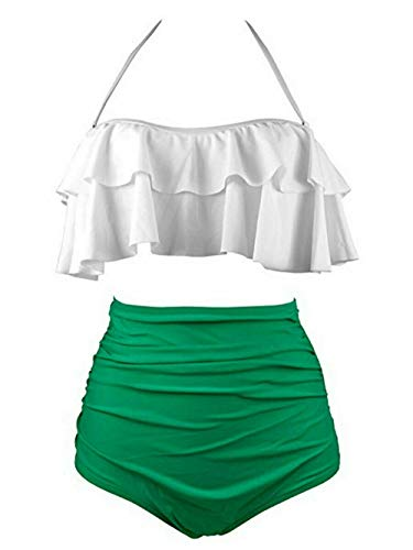 SSITG Damen Vintage Hohe Taille Bikini Retro Badeanzug Bikini Bademode Badebekleidung - 2