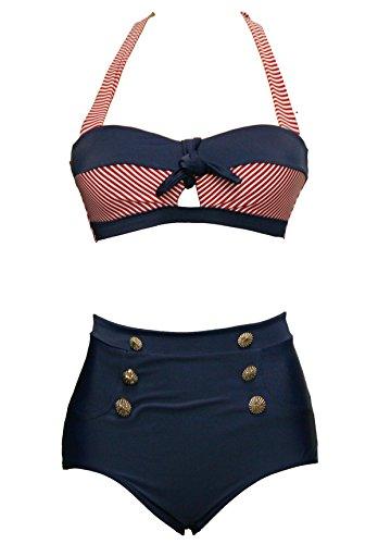 BSLINGERIE® Sexy Damen Retro Bademode Übergröße Halfter Bikini Set (XL, Rot gestreiften Keyhole)