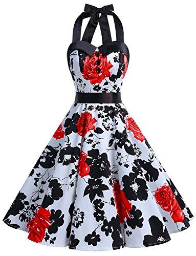 Dressystar DS1957 Vintage Tupfen Retro Cocktail Abschlussball Kleider 50er 60er Rockabilly Neckholder Rot Blume XS