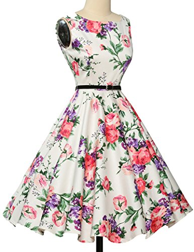 elegant damenkleider festlich 50s vintage retro rockabilly kleid hepburn stil partykleid Größe S CL6086-21 - 2