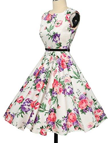 elegant damenkleider festlich 50s vintage retro rockabilly kleid hepburn stil partykleid Größe S CL6086-21 - 3