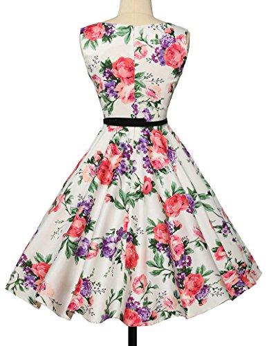 elegant damenkleider festlich 50s vintage retro rockabilly kleid hepburn stil partykleid Größe S CL6086-21 - 4