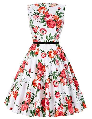 50er jahre vintage Rockabilly kleid partykleid blumen kleid Hepburn Stil Swing-kleid Größe S CL6086-39