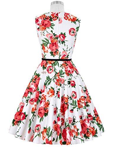 50er jahre vintage Rockabilly kleid partykleid blumen kleid Hepburn Stil Swing-kleid Größe S CL6086-39 - 3