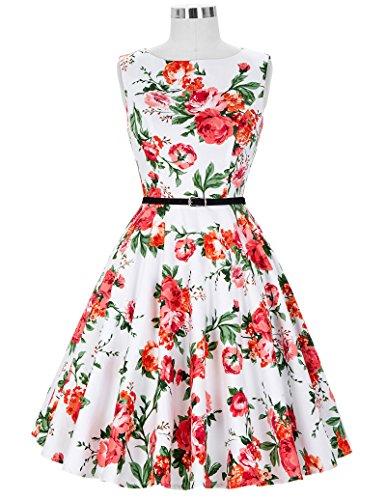 50er jahre vintage Rockabilly kleid partykleid blumen kleid Hepburn Stil Swing-kleid Größe S CL6086-39 - 4