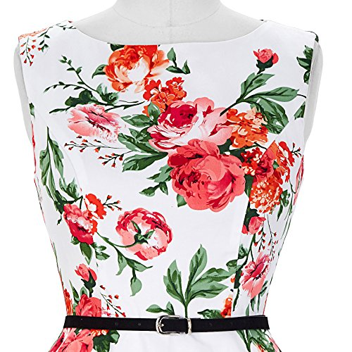 50er jahre vintage Rockabilly kleid partykleid blumen kleid Hepburn Stil Swing-kleid Größe S CL6086-39 - 6