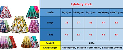 Lylafairy Damen 50er Jahre Art Rock Vintage Rockabilly Swing Faltenrock Knielang Mode Skater Röcke (42, Blau blumen) - 2