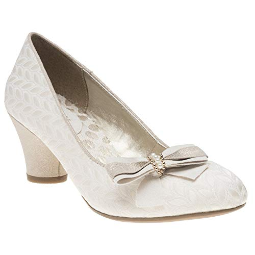 LADIES RUBY SHOO LILY CREAM LOW HEELED VINTAGE STYLE RETRO WEDDING SHOES-UK 5 (EU 38)