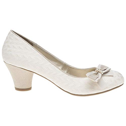 Ladies Ruby Shoo Lily Cream Low Heeled Vintage Style Retro Wedding Shoes Uk 5 Eu 38