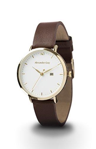 Alexander Gray Damenuhr - Vergoldete Armbanduhr Modell VENEZIA mit weichem Lederarmband und ultradünnem Gehäuse – zeitloses Design für jeden Anlass