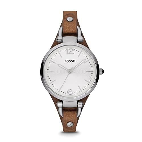Fossil Georgia Damenuhr silber / Analoge Vintage Armbanduhr im Boyfriend-Stil - großes Ziffernblatt & schmales, braunes Lederband