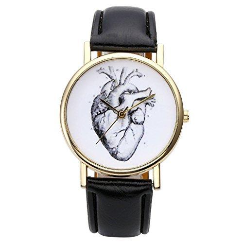 JSDDE Uhren,Vintage Damen Armbanduhr Skizze Organ Herz Zifferblatt Armbanduhr Leder Armband Analog Quarz Uhr,Schwarz