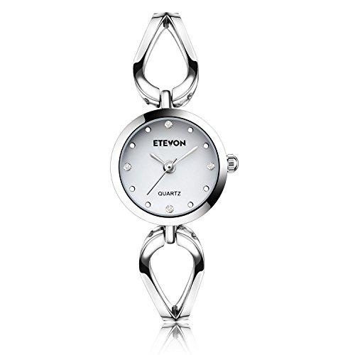 ETEVON Frauen Quarz Silber Armbanduhr mit Kleine Crystal Zifferblatt und Hohlen Armband Wasserdicht Lässig Einfache Verkleiden Armbanduhren für Damen
