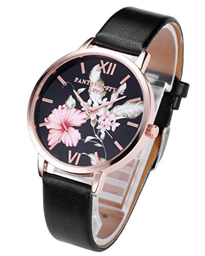 JSDDE Uhren,Vintage Klassische Blumen Damen Armbanduhr Basel-Stil Quarzuhr PU Lederband Rosegold Analog Quarzuhr(Schwarz)