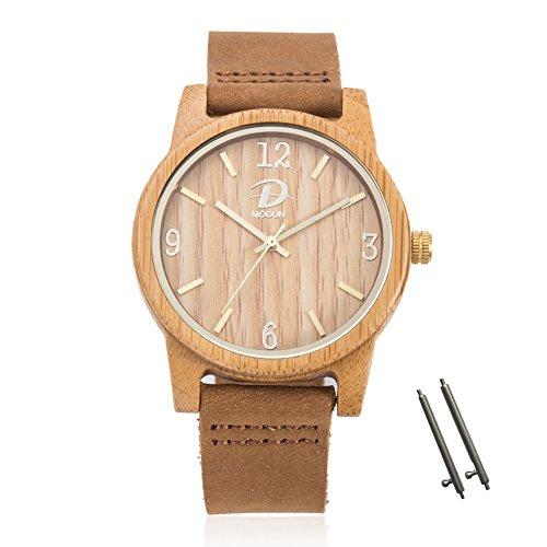 40mm Holz Armbanduhr für Herren und Damen, echtes Leder-Bügel Band Business Casual Armbanduhren, Japanisches Miyota Quarzwerk Bewegung Vintage Natürliche Holz Uhren (Bambus)