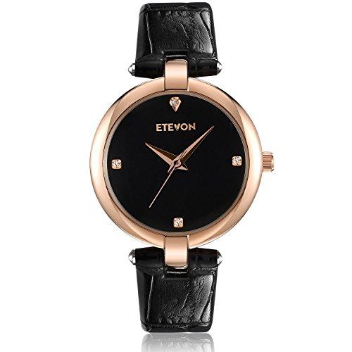 ETEVON Women's Casual Crystal Quartz Leather Watch mit schwarzem Zifferblatt und Rose Gold Edelstahl Case, einfach Kleid Handgelenk Uhren für Frauen Ladies