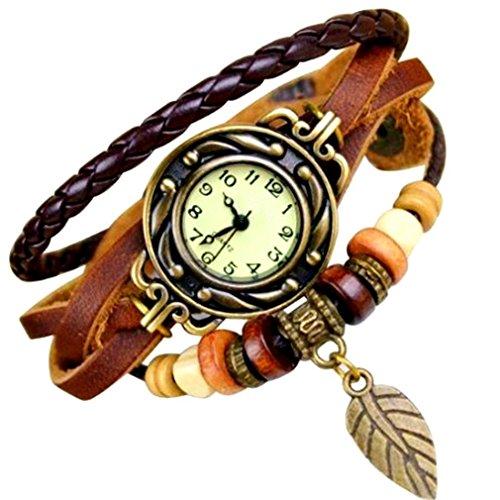 Mixe Elegante Damen Bronze Leaf Boho Chic Vintage inspiriert Armband Kleid Armbanduhr Brown Leaf
