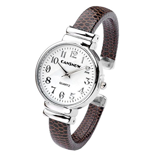 JSDDE Uhren,Damen Armbanduhr Chic Manschette Rund Damenuhr Spangenuhr Schlage Haut Band Armbanduhr Quarzuhr(Kaffee)