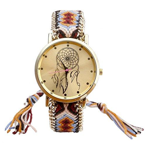 JSDDE Uhren,Damen Ethnisch Dreamcatcher Traumfaenger Freundschaft Braid Armbanduhr gewebte Seil Band Quarzuhr,Orange+Schwarz