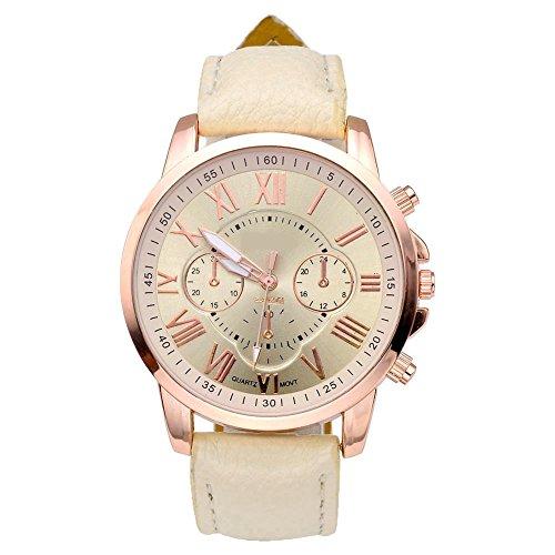 JSDDE Uhren,Neue Damenmode Genf römischen Ziffern-Leder Analog Quarz Armbanduhren(Beige)