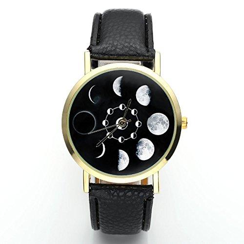 JSDDE Uhren,Fashion Damen Mondfinsternis-Muster Armbanduhr kein-Zifferskala Damenuhr Lederarmband Analog Quarzuhr,Schwarz