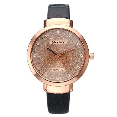 JSDDE Uhren,Elegante Damen Armbanduhr Braunglas Glitzer Dial XS Slim PU Leder-Band Ladies Dress Analog Quarzuhr,Schwarz