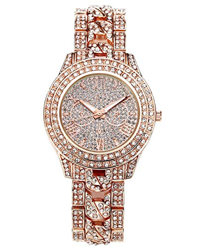JSDDE Uhren,Luxus Elegangt Damen Armbanduhr mit Strass Glitzer Dial Damenuhr Metall-Band Ladies Dress Analog Quarzuhr (Rosegold)