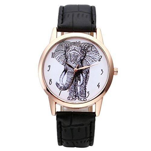 JSDDE Uhren,Vintage Damen Armbanduhr Skizze Elefant Zifferblatt Armbanduhr Leder Armband Analog Quarz Uhr,Schwarz