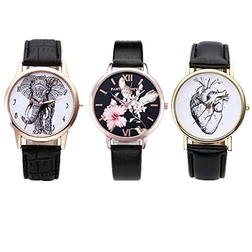 JSDDE Uhren Set,Vintage Damen Armbanduhr Elefant+Organ Herz+Blumen Damenuhr Basel-Stil Analog Quarzuhr 3x Uhren