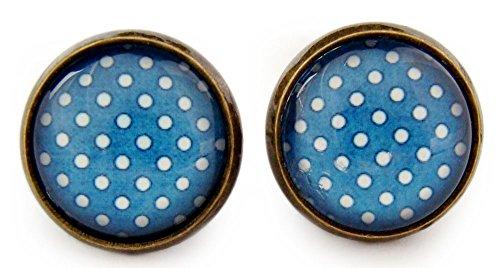 """Miss Lovie Damen Ohrstecker """"Polka Dots"""" Ohrringe Punkte Ethno Cabochon 12mm Modeschmuck Blau Bronze"""