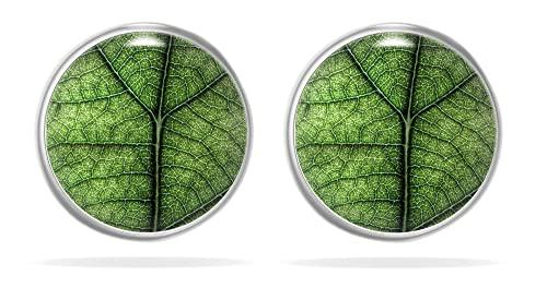 Miss Lovie Damen Ohrstecker Blatt Ohrringe Leaf Cabochon 12mm Modeschmuck Blattmotiv Grün