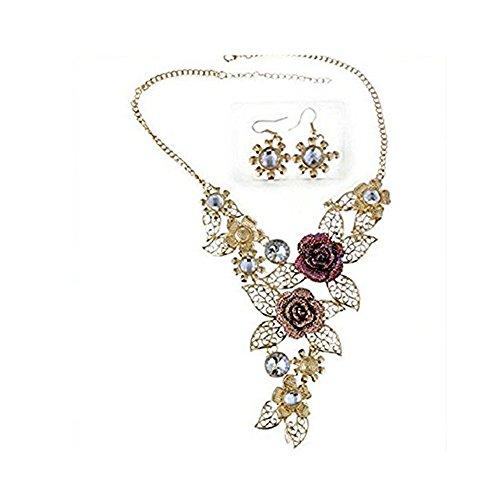 Kette Schmuck halskette Damen DAY.LIN Frauen Elegant Vintage Flower Gold Halskette Anweisung Ohrringe Schmuck-Set