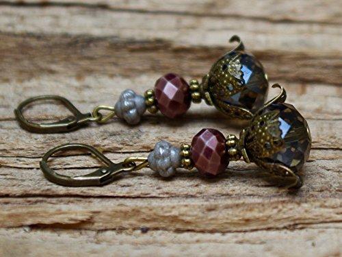 Vintage Ohrringe mit Glasperlen - grau, braun & bronze