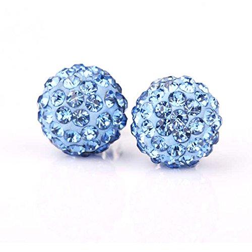 """Kim Johanson Damen Ohrringe """"Shamballa"""" Hellblau aus 925 Sterling Silber mit Zirkonia Steinchen besetzt inkl. Schmuckbeutel"""