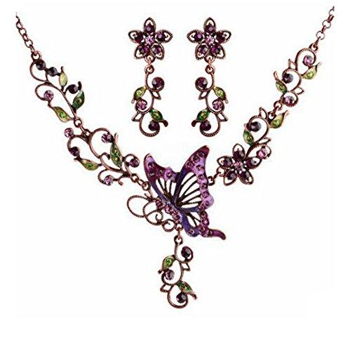 Sunnywill Damen Halskette Kette Choker Anhänger Vintage Schmetterling Halskette Anweisung Ohrringe Schmuck-Set