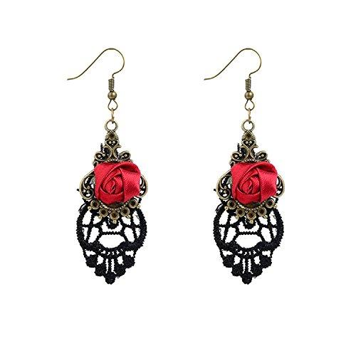Yazilind Retro Style Lace Baumeln Rote Rose Blume Ohrring Stilvolle Schmuck Für Frauen Geschenkidee