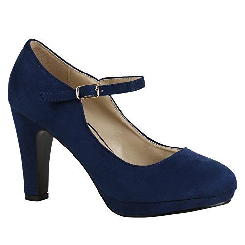 Damen Schuhe Pumps T-Strap High Heels Riemchenpumps Stilettos 157207 Dunkelblau Berkley 40 Flandell
