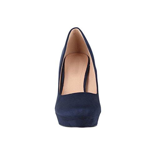 Elara Damen Pumps   Bequeme High Heels   Vintage-Style   Abendschuh Trendy   Chunkyrayan   E22360 Navy-39 - 4