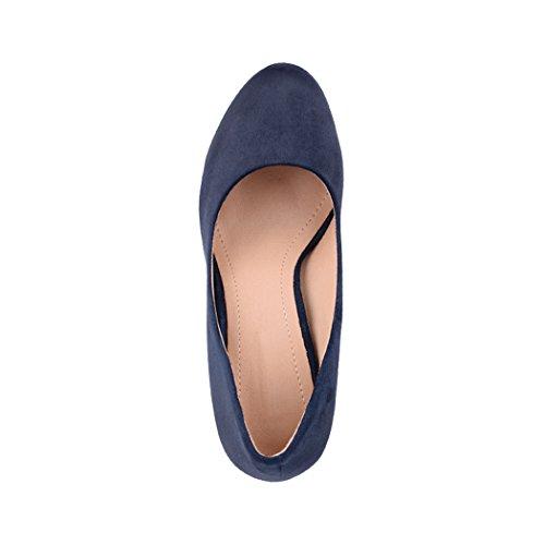Elara Damen Pumps   Bequeme High Heels   Vintage-Style   Abendschuh Trendy   Chunkyrayan   E22360 Navy-39 - 6