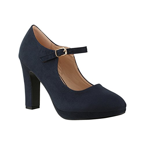 Elara Damen Pumps | Bequeme Riemchen High Heels | Vintage-Style | Abendschuh Trendy | Chunkyrayan | 8906 Blue-40