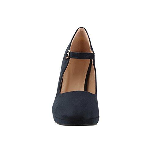 Elara Damen Pumps | Bequeme Riemchen High Heels | Vintage-Style | Abendschuh Trendy | Chunkyrayan | 8906 Blue-40 - 4