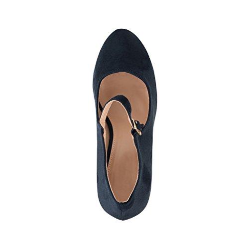 Elara Damen Pumps | Bequeme Riemchen High Heels | Vintage-Style | Abendschuh Trendy | Chunkyrayan | 8906 Blue-40 - 6