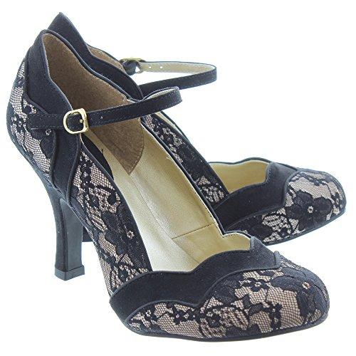 Ruby Shoo IMOGEN Vintage LACE Spitzen Riemchen Pin Up Heels PUMPS Rockabilly (38) - 4