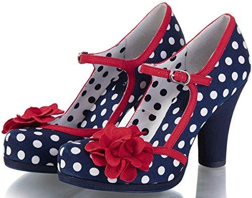 87c1cd259c526 Ruby Shoo Damen Schuhe Hannah Punkte Rosen Pumps Blau 39